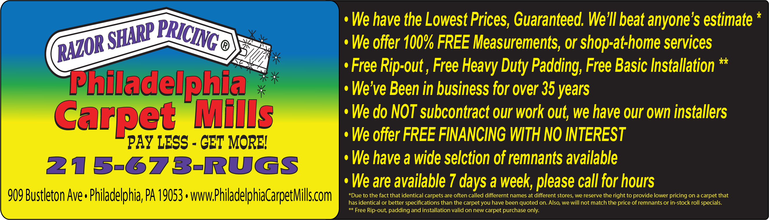 philadelphia carpet mills, carpet, vinyl, free estimates
